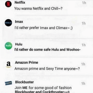 Amazon, Amazon Prime, and Blockbuster: Netflix  1h  You wanna Netflix and Chill ?  IMAX Imax  I'd rather prefer Imax and Climax  1h  1h  hulu Hulu  I'd rather do some safe Hulu and Woohoo-  Amazon Prime  a  Amazon prime and Sexy Time anyone ?  1h  Blockbuster  1h  Join ME for some good ol' fashion  Blockbuster and Cockthruster~<3 me_irl