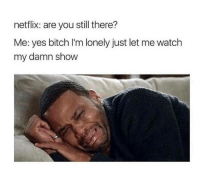 Bitch, Memes, and Netflix: netflix: are you still there?  Me: yes bitch I'm lonely just let me watch  my damn show <p>#savagememes #memes #netflix</p>