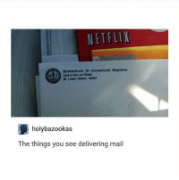 Ironic, Netflix, and Mail: NETFLIX  Brotherhood Of Unemployed Magicians  Lve in Box on Street  St Loser, Misery 46254  holybazookas  The things you see delivering mail