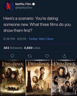 Academy: Netflix Film  NetflixFilm  Here's a scenario: You're dating  someone new. What three films do you  show them first?  6:36 PM 6/5/19 Twitter Web Client  383 Retweets 4,889 Likes  WLDES  wDESG  ORDRINGSORDRINGSORDRINGS  THE  POF TE RIN  WINNER ACADEMY AWAD  BEST PCTURE 150