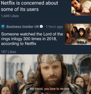 What a journey: Netflix is concerned about  some of its users  1,449 Likes  BI Business Insider UK  1 hour ago  Someone watched the Lord of the  rings trilogy 300 times in 2018,  according to Netflix  187 Likes  My friend, you bow to no one What a journey
