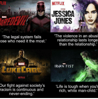 "Memes, 🤖, and Flash: NETFLIX  JESSICA  MARVEL  ""The violence in an abusi  ""The legal system fails  relationship lasts longe  ose who need it the most.  than the relationship.'  MARTEL  IRAN FIST  NETFLIX  Our fight against society's  ""Life is tough when you'r  racism is continuous and  rich, white man-child.  never-ending. This is Marvel •••••••••••••••••••••••••••••• batman superman superhero captainamerica cartoon thor anime comics avengers hulk flash spongebob igers iphoneasia photooftheday videogames picoftheday spiderman instahub followme instagood picoftheday dc movies selfie instadaily cool"