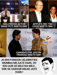 #ShahRukhKhan #JustinTrudeau: NETFLIX  NETFLIX WAR  APPLE'S CEO TIM  BRAD PITT MEETS SRK COOK MEETS SRK  HOLLYWOOD ACTOR  Cana  Car  a1  LAUGHING  Canada-In  A Celebration  Canad  A Celebra  CANADAS PM JUSTIN  TRUDEAU MEETS SRK  Car  JO BHI FOREIGN CELEBRITIES  MUMBAI ME AATE HAIN, VO  KISI AUR SE MILE NA MILE  SRK SE ZAROOR MILKE JATE  HAIN! #ShahRukhKhan #JustinTrudeau