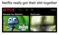 """Love, Memes, and Netflix: Netflix really got their shit together  NETFLIX  DVD  Because You Watched.  You'll Love...  PIXAR <p>How to traumatize a child via /r/memes <a href=""""http://ift.tt/2Ge3YA0"""">http://ift.tt/2Ge3YA0</a></p>"""