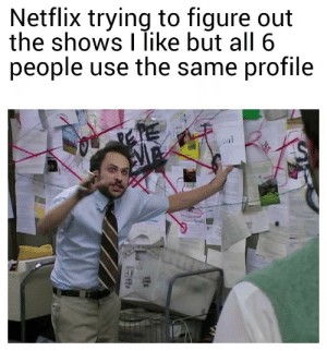 Netflix, All, and Use: Netflix trying to figure out  the shows I like but all 6  people use the same profile