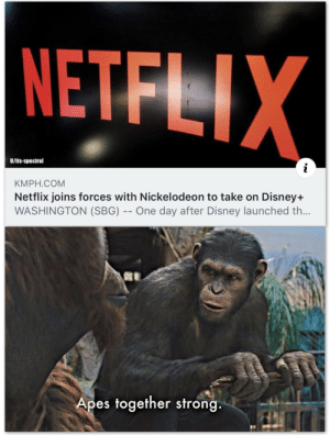 "srsfunny:  ""Uses dragon ball z fusion dance"": NETFLIX  U/its-spectral  KMPH.COM  Netflix joins forces with Nickelodeon to take on Disney+  WASHINGTON (SBG) -- One day after Disney launched th...  Apes together strong srsfunny:  ""Uses dragon ball z fusion dance"""