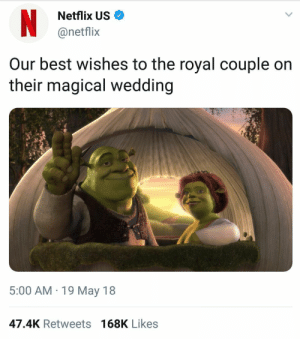 Netflix, Savage, and Best: Netflix US  @netflix  Our best wishes to the royal couple on  their magical wedding  2?  5:00 AM 19 May 18  47.4K Retweets 168K Likes Savage?
