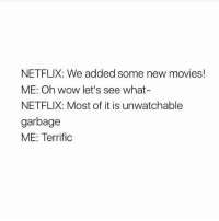 Memes, Movies, and Netflix: NETFLIX: We added some new movies!  ME: Oh wow let's see what-  NETFLIX: Most of it is unwatchable  garbage  ME: Terrific 💯