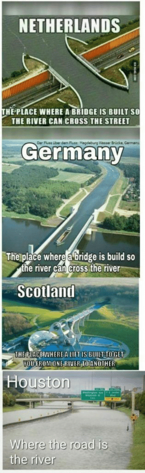 Funny, Memes, and Saw: NETHERLANDS  THE PLACE WHERE A BRIDGE IS BUILT SO  THE RIVER CAN CROSS THE STREET  Der Fluss über dem Fluss: Magdeburg Wasser Brücke, Germany  The place where a bridge is build so  the river can cross the river  Scotland  THE PLACEWHEREA LIFT IS BUILT TO GET  YOU FROM ONE RIVER TO ANOTHER  Houston  Where the road is  the river  MA KCAL COM Some funny memes I saw recently - Imgur