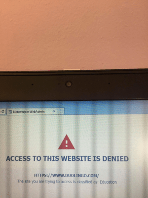 This school blocked a site because it was educational: Netsweeper WebAdmin  A  ACCESS TO THIS WEBSITE IS DENIED  HTTPS://WWW.DUOLINGO.COM/  The site you are trying to access is classified as: Education This school blocked a site because it was educational