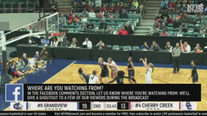 Basketball, Facebook, and Finals: NETWORK  WHERE ARE YOU WATCHING FROM?  IN THE FACEBOOK COMMENTS SECTION, LET US KNOW WHERE YOU'RE WATCHING FROM. WE'LL  GIVE A SHOUTOUT TO A FEW OF OUR VIEWERS DURING THE BROADCAST  #4 CHERRY-CREEK  1  e  #6 GRANDVIEW  19  2ND 03:45  13  season basketball in over 40 states Visit NFHSNetwork.com and become a member for FREE; then subscribe to watch LIVE postseason basketball in over After upsetting Regis in the semis, Grandview takes on rival Cherry Creek in the 5A Finals! Which Colorado program will come home with the championship trophy? Find out LIVE by watching on Facebook!