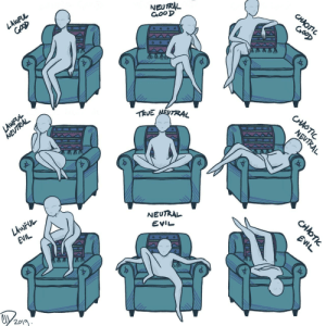 eyesofenigma:  A wild comfy sofa chair has appeared!! …..What will you do? : NEUTRAL  GooD  CHAOTIC  GooD  LAWFUL  TRVE NEUTRAL  CHAOTIC  LAWFVL  NEUTRAL  NEUTRAL  NEUTRAL  LAWFUL  EVIL  EVIL  EVIL  2019  CHOTI eyesofenigma:  A wild comfy sofa chair has appeared!! …..What will you do?