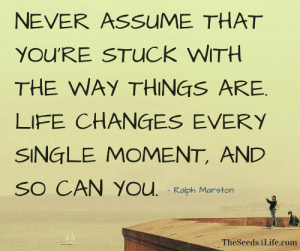 Life, Never, and Single: NEVER AssuME THAT  YOU'RE STUCK WITH  THE WAY THINGS ARE.  LIFE CHANGES EVERY  SINGLE MOMENT, AND  SO CAN YOu. Ralph Marston  TheSeeds4Life.com