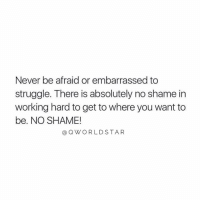 "Journey, Struggle, and Experience: Never be afraid or embarrassed to  struggle. There is absolutely no shame in  working hard to get to where you want to  be. NO SHAME!  @QWORLDSTA R ""It's a part of the journey to experience challenges you can learn from..."" 💯 @QWorldstar https://t.co/b8iKmgxYdL"