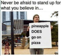 Let's settle this like civil people. memes pineapple pizza whichsideyouon: Never be afraid to stand up for  what you believe in...  pineapple  DOES  go on  pizza Let's settle this like civil people. memes pineapple pizza whichsideyouon