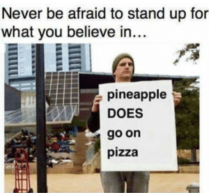 It really does though.. by jasht FOLLOW 4 MORE MEMES.: Never be afraid to stand up for  what you believe in....  pineapple  DOES  go on  pizza It really does though.. by jasht FOLLOW 4 MORE MEMES.