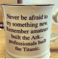 Memes, Titanic, and Never: Never be afraid to  try something new  Remem  ember amateurs  professionals  Remember ama  built the Ark.  bul  e Titanic. I like this one a lot!
