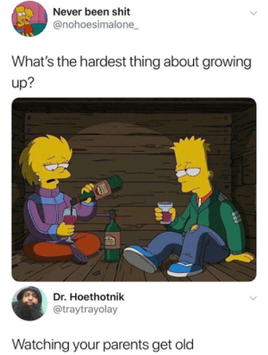 Dank, Growing Up, and Parents: Never been shit  @nohoesimalone  What's the hardest thing about growing  up?  Dr. Hoethotnik  @traytrayolay  Watching your parents get old They gottaa be with me forever.