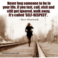 "Ignorant, Memes, and Respect: Never beg someone to bein  your life.If you text, call, visit and  still get ignored, walk away.  It's called ""SELF-RESPECT.  Steve Wentworth  b/david avocado wolfe David Wolfe"