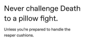 Death, Never, and Fight: Never challenge Death  to a pillow fight.  Unless you're prepared to handle the  reaper cushions.