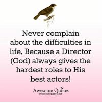 God, Life, and Memes: Never complain  about the difficulties in  life, Because a Director  God always gives the  hardest roles to His  best actors!  Awesome Quotes  www.Awesomequotes4u.com Mesmerizing Quotes