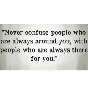 """https://iglovequotes.net/: """"Never confuse people who  are always around you, with  people who are always there  for you."""" https://iglovequotes.net/"""