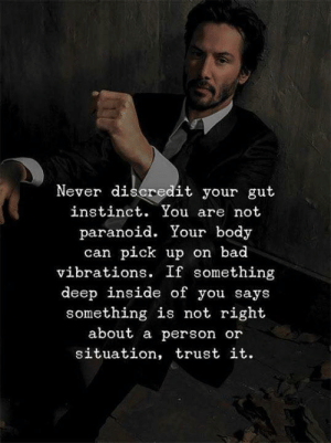 instinct: Never discredit your gut  instinct. You are not  paranoid. Your body  can pick up on bad  vibrations. If something  deep inside of you says  something is not right  about a person or  situation, trust it