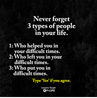 Memes, 🤖, and Never Forget: Never forget  3 types of people  in your life.  1: Who helped you in  your difficult times.  2: Who left you in your  difficult times.  3: Who put you in  difficult times.  Type 'Yes' you agree.  Lessons Taught  By LIFE <3