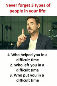 never forget: Never forget 3 types of  people in your life:  1. Who helped you in a  difficult time  2. Who left you in a  difficult time  3. Who put you in a  difficult time