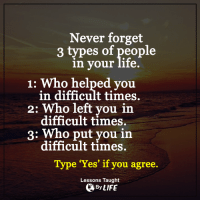 Life, Memes, and Help: Never forget  3 types of people  in your life.  1: Who helped you  in difficult times.  2: Who left you in  difficult times.  3: put you in  difficult times.  Type 'Yes' if you agree.  Lessons Taught  By LIFE <3