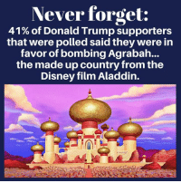 Agrabah: Never forget:  41 % of Donald Trump supporters  that were polled said they were in  favor of bombing Agrabah...  the made up country from the  Disney film Aladdin.