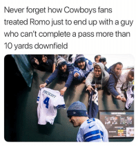 💀: Never forget how Cowboys fans  treated Romo just to end up with a guy  who can't complete a pass more than  10 yards downfield 💀