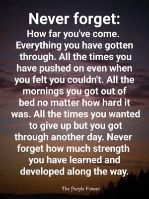 <3: Never forget:  How far you've come.  Everything you have gotten  through. All the times you  have pushed on even when  you felt you couldn't. All the  mornings you got out of  bed no matter how hard it  was. All the times you wanted  to give up but you got  through another day. Never  forget how much strength  you have learned and  developed along the way.  The Purple Flower <3