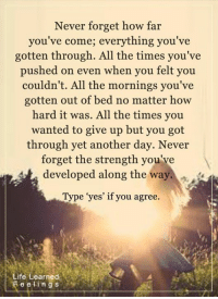 """<3 #LifeLearnedFeelings: Never forget how far  you've come; everything you've  gotten through. All the times you've  pushed on even when you felt you  couldn't. All the mornings you've  gotten out of bed no matter how  hard it was. All the times you  wanted to give up but you got  through yet another day  Never  forget the strength you've  developed along the way  Type """"yes' if you agree.  Life Learned  F e eling s <3 #LifeLearnedFeelings"""
