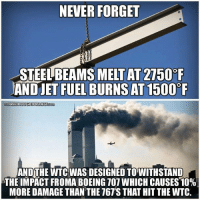 jet fuel: NEVER FORGET  MELT AT 2750 F  AND JET FUEL BURNS AT1500  FREETHOUGHTPROJECT  AND THE WTC WAS DESIGNED TOWITHSTAND  THE IMPACT FROMA BOEING TO1 WHICH CAUSES10%  MORE DAMAGE THAN THE T67's THAT HIT THEWTC.