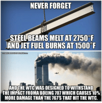"""How anyone can still believe the official story is beyond me!   """"9/11 Was An Inside Job"""" Join Us → The Free Thought Project: NEVER FORGET  MELT AT 2750 F  AND JET FUEL BURNS AT1500  FREETHOUGHTPROJECT  AND THE WTC WAS DESIGNED TO WITHSTAND  THE IMPACT FROMA BOEING 707 WHICH CAUSES 10%  MORE DAMAGE THAN THE T67'S THAT HIT THE WITC. How anyone can still believe the official story is beyond me!   """"9/11 Was An Inside Job"""" Join Us → The Free Thought Project"""