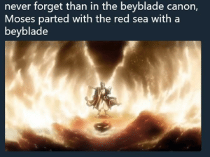 me_irl: never  forget  than  in  the  beyblade  canorn,  Moses parted with the red sea with a  beyblade me_irl