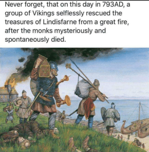 Fire, Congratulations, and Vikings: Never forget, that on this day in 793AD, a  group of Vikings selflessly rescued the  treasures of Lindisfarne from a great fire,  after the monks mysteriously and  spontaneously died. Congratulations! Your wealth is being repatriated