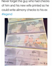 Savage of the century. 😂😂 https://t.co/pDCXuBlxK7: Never forget the guy who had checks  of him and his new wife printed so he  could write alimony checks to his ex  #legend  425  CH  Dollars  BANK OF AMERICA  475  113 1210  CHANC  Date  I$  Dollars  NEVER BEEN HAPPIER!  LOVE MY WIFE  11-35/1210  450  Date  뉴tode  ANK OF AMERICA  Dollars  NEVER BEEN HAPPIERT!  I LOVE MY WIFELL Savage of the century. 😂😂 https://t.co/pDCXuBlxK7