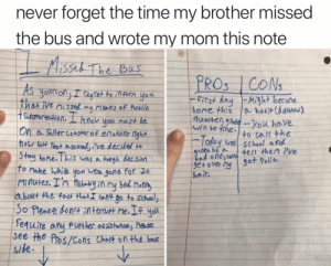 Bad, School, and Hair: never forget the time my brother missed  the bus and wrote my mom this note  Misset The Bas  PROS CON  AS yoursonI regtet to ilfern you  That ive mise my Means of Putlic  ToUportotion.Lknok uou nust be  On  FRrst day Might becone  home this  quarter gdeyou have  a habitCda)  wll be fine  a so/ler coastrof enotione night  how but fest sueve deciked to  Stoy hone. This  TO Make hile you wtre gone for 20  Minutes. I'n fiabayin ny bed Moti  about the foc thatI tant go to Scholy  to call the  bras School and  Today  9oMa be a  bad one,cante/t then ive  over nygot Polio.  hair  Was a tolgh decision  So Please donntemut me.If yod  fequire anu purher assistance Plae  see the Pos/Cons Chost on the bocs  Side
