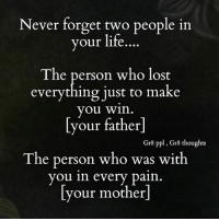 Memes, 🤖, and Personal: Never forget two people in  your life  The person who lost  everything just to make  you win  our father  Gr8 ppl Gr8 thoughts  The person who was with  you in every pain.  your mother