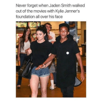 oh what a mess: Never forget when Jaden Smith walked  out of the movies with Kylie Jenner's  foundation all over his face oh what a mess