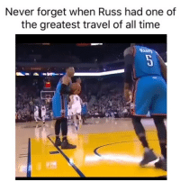 Basketball, Nba, and Sports: Never forget when Russ had one of  the greatest travel of all time He was surprised too😂 Via @world_wide_wob westbrook okcthunder