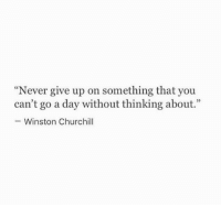 """churchill: """"Never give up on something that you  can't go a day without thinking about.""""  Winston Churchill"""