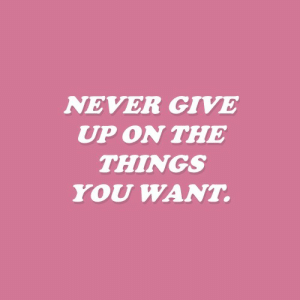Never, You, and  Things: NEVER GIVE  UP ON THE  THINGS  YOU WANT.