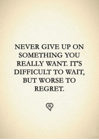 Memes, Regret, and Never: NEVER GIVE UP ONN  SOMETHING YOU  REALLY WANT. ITS  DIFFICULT TO WAIT,  BUT WORSE TO  REGRET.