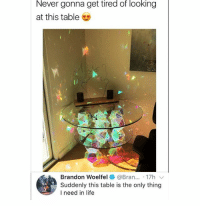 Ass, Life, and Memes: Never gonna get tired of looking  at this table  Brandon woelfel * @Bran...-17h 、  Suddenly this table is the only thing  I need in life Mario star looking ass table 😂 • ➫➫ Follow @savagememesss (me) for more posts daily