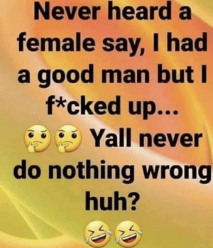 😂💀: Never hearda  female say, I had  a good man but I  f*cked up...  Yall never  do nothing wrong  huh? 😂💀