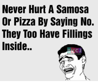 Memes, Pizza, and 🤖: Never Hurt A Samosa  Or Pizza By Saying No.  They Too Have Fillings  Inside.  CU.COM Feelings!😝😝 rvcjinsta