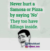 Memes, Pizza, and Never: Never hurt a  Samosa or Pizza  by saying 'No'  They too have  fillings inside.  hukkad Yes  :P